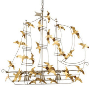 Beautiful Ship Chandelier in Silver Metal with Gold Birds