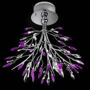 Pretty purple glass and crystal 20 light Italian light fixture