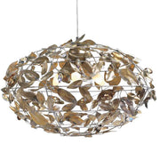 Metal Wire Frame Chandelier with Gold Leaves & Swarovski Element