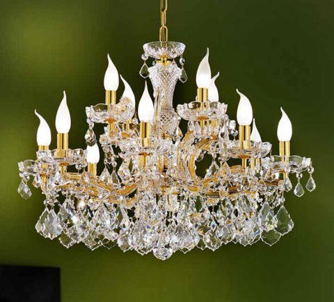 Gold Frame and Clear Glass Maria Theresa Chandelier