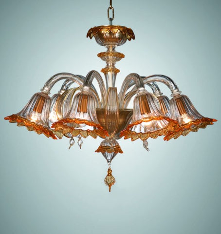 Murano Glass Chandelier with coloured glass shades