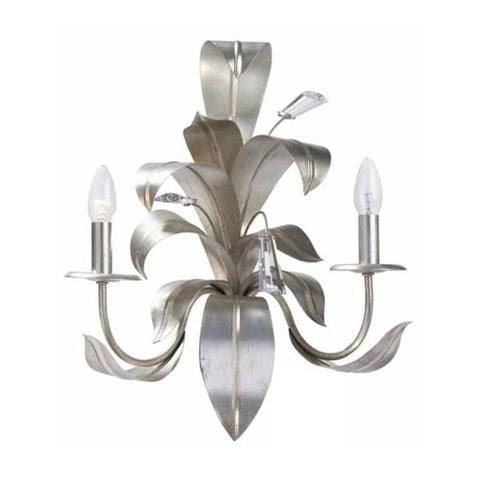Silver Metal Leaves Wall Light with Swarovski Elements Crystals