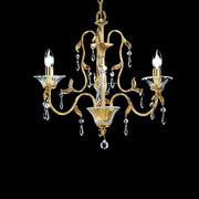 3 Light antiqued brass Chandelier