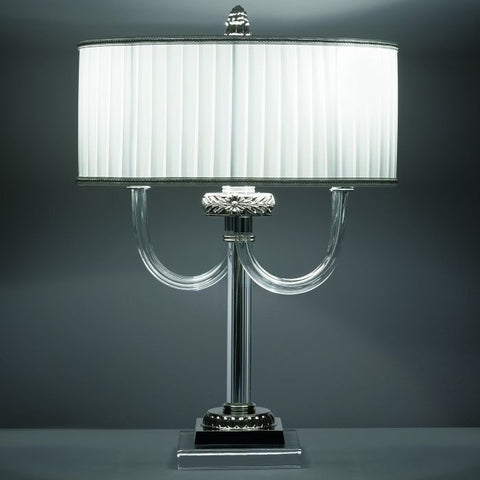 Classic nickel & clear Italian glass table lamp with white shade