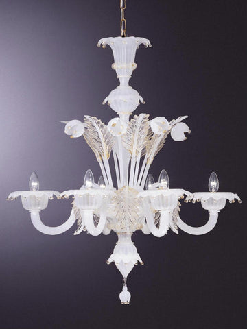 White Murano 6 light chandelier with gold trim