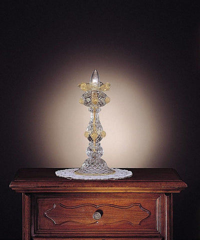 Traditional Murano clear crystal candle lamp