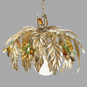 Gold Leaves Chandelier with Green & Amber Swarovski Elements