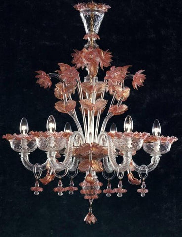 Murano Chandelier with ruby flowers
