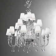 16 light Murano glass chandelier with white shades