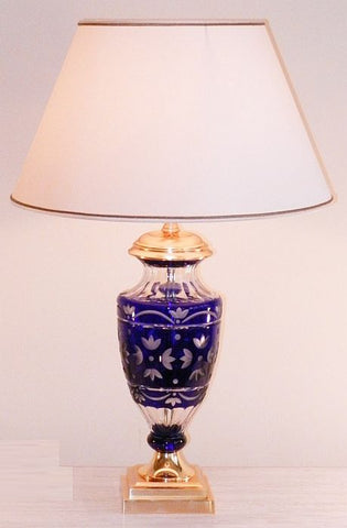 Etched blue glass, crystal and gold table lamp