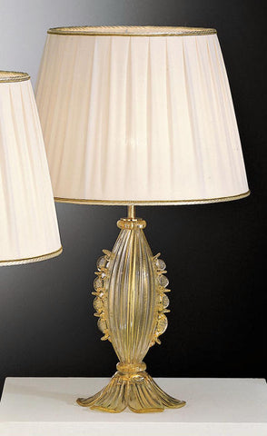 Murano clear glass and gold lamp base