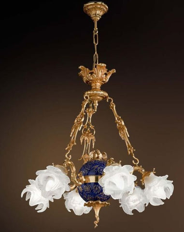 6 Light 24 Carat Gold Chandelier