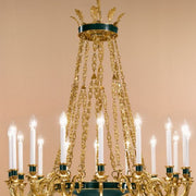 Antique French Gold and Green Chandelier