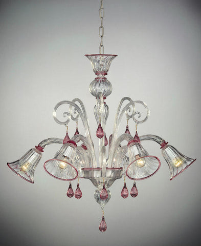 Ruby pink and clear Murano glass chandelier