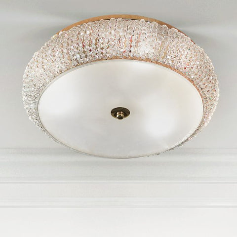 Italian crystal flush light with gold or silver frame