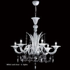 White black or red Murano glass chandelier with clear trim