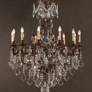 12 Light Brass Chandelier with Crystals
