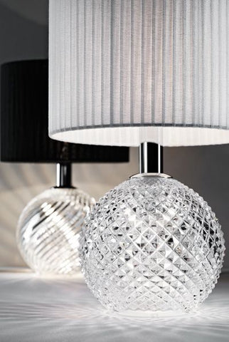 Diamond lead crystal table light with black or white shade from