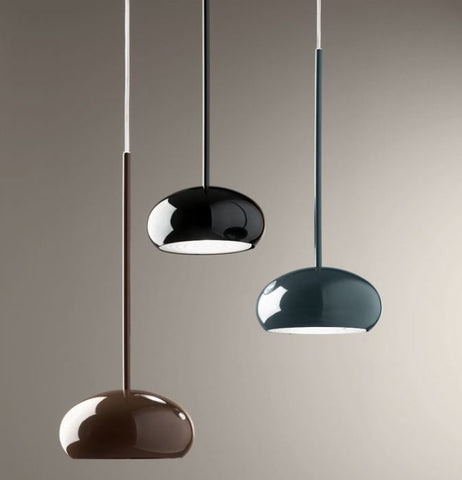 Glossy black, grey, brown or white metal ceiling light