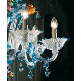 Aquamarine Murano glass chandelier with coloured flowers