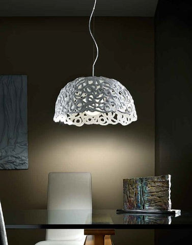 White high gloss bell-shaped ceramic ceiling pendant