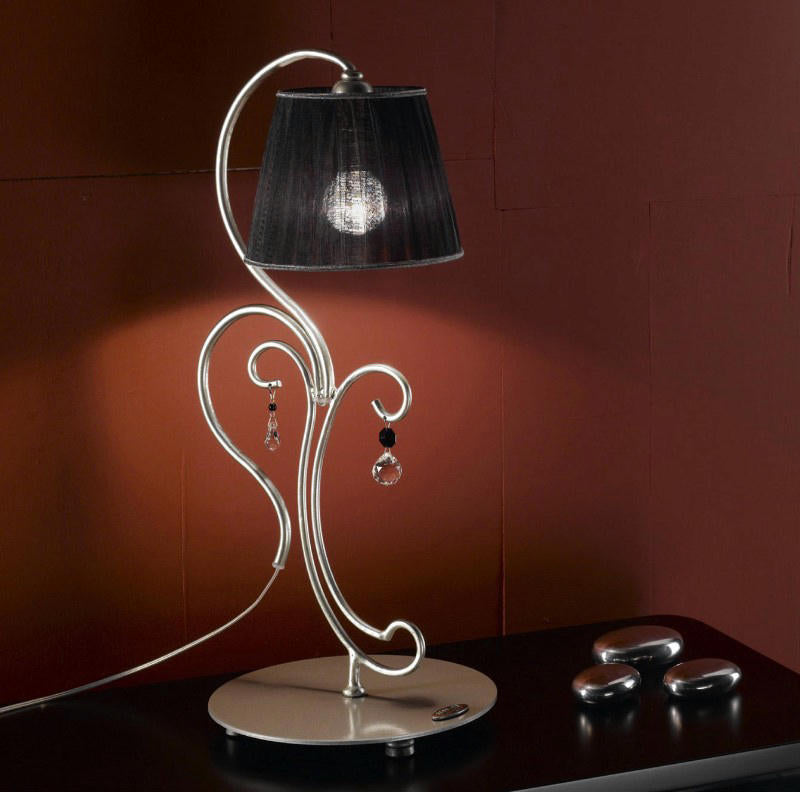 Silver lacquer table light with glass pendants and black shade