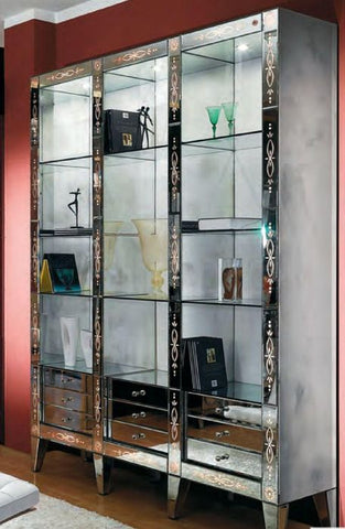 Engraved Venetian glass bookcase with colour changing LED