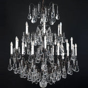 24 Light Metal Frame Chandelier with Bohemian Crystals