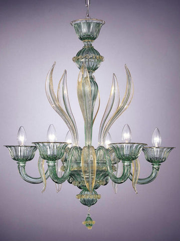 Green Murano glass 6 light chandelier