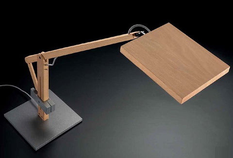 Leva beech wood & steel LED desk lamp from Leucos