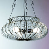 Murano crystal ceiling pendant with decorative black frame