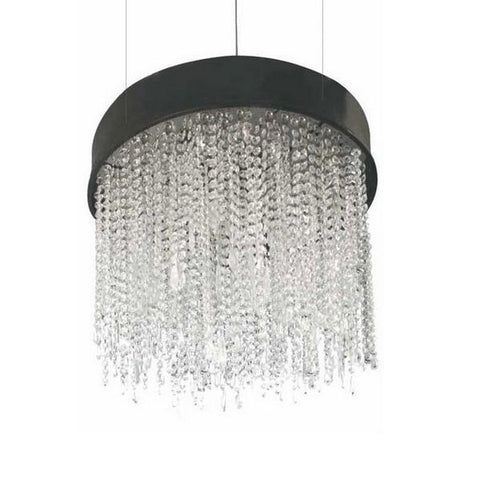 Black Metal Chandelier with Hanging Glass Crystals