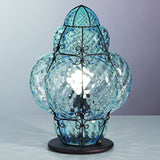 Turquoise Murano glass 'baloton' table light with a bronze base