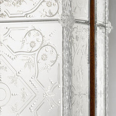 Tall ornate Venetian mirrored wardrobe with Murano glass flowers