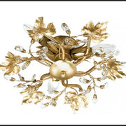 Ceiling Light with Gold Metal Work Leaves & Swarovski Elements