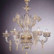 Murano crystal chandelier with gold leaves and flowers