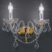 Gold or nickel double wall light with 24% lead crystal pendants