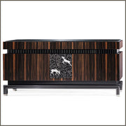 Ebony art deco style sideboard with reindeer motifs
