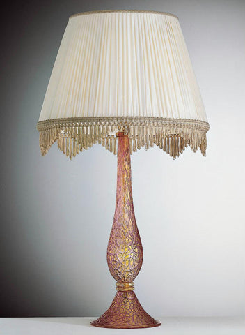 Tall pink and gold Murano glass table lamp base