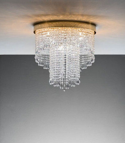 Modern Italian ceiling light with pretty crystal pendants