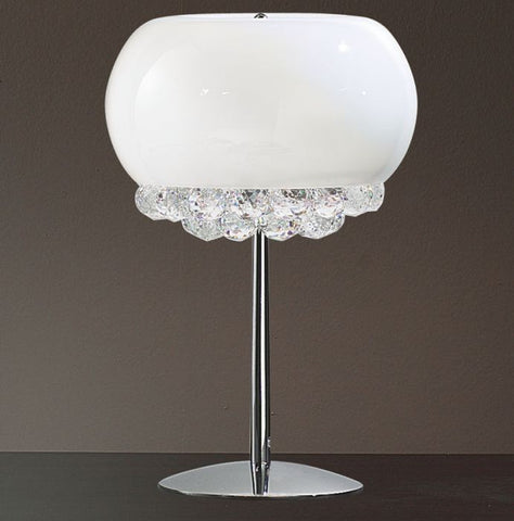 White or bronze shade table lamp with Asfour crystals