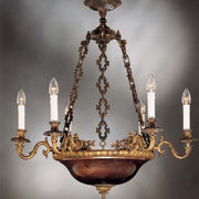 Traditional Italian brass chandelier with copper bowl