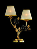 Cast brass table lamp with ceramic flowers