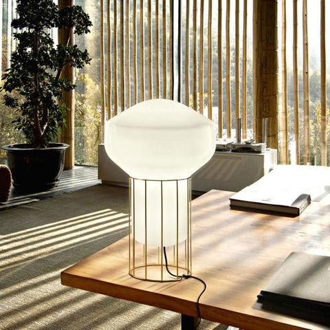 Large Aerostat glass and metal table lamp from Fabbian