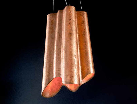 Bespoke ceramic ceiling light with polished copper leaf surface