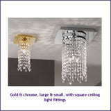 Fixed ceiling light with Swarovski crystals in 3 colours
