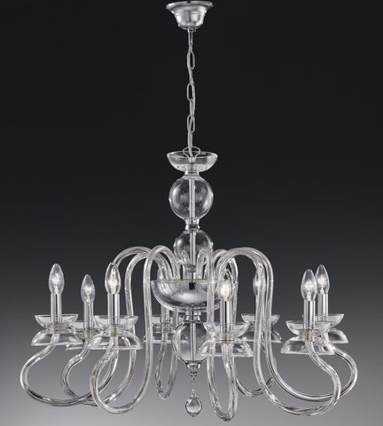 Contemporary eight light Italian crystal chandelier in seven great colours