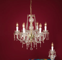 Exquisite Asfour lead crystal chandelier from Italy with gold or chrome frame