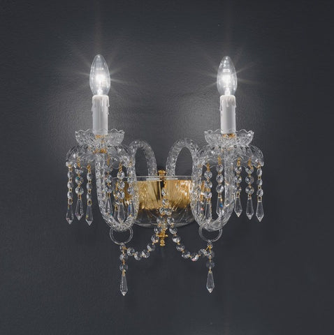 Double lead crystal wall light with 24 carat gold or nickel frame