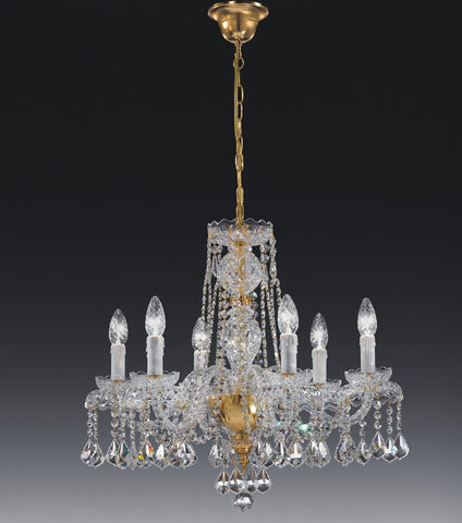 Decorative lead crystal and 24 carat gold chandelier from Italy with 6 lights
